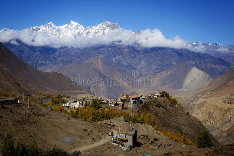 Valley from the Annapurna Circuit trail royalty free stock photo