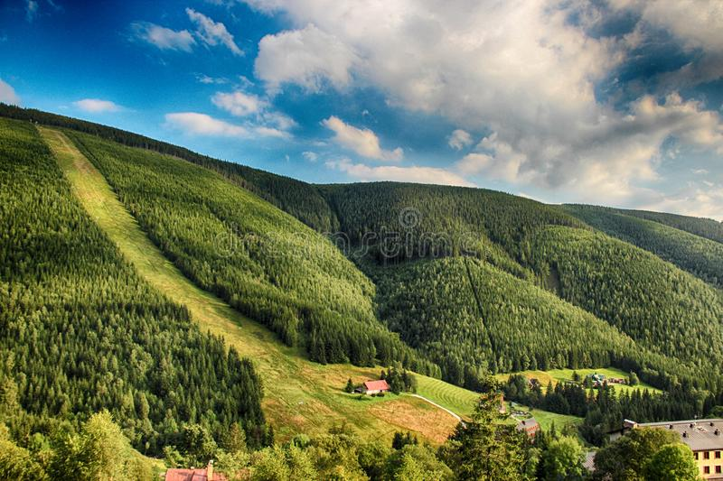 Valley in czech national park Giant mountain- Krkonose stock photography