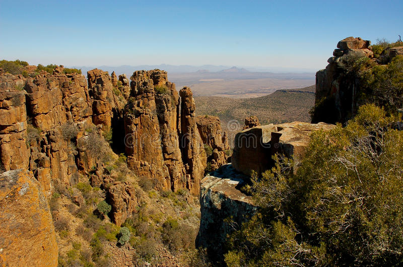 Valley of Desolation. A sweeping view of the Valley of Desolation in a Karoo landscape near Graaff-Reinet in Eastern Cape, South Africa, showing dolerite columns royalty free stock photo