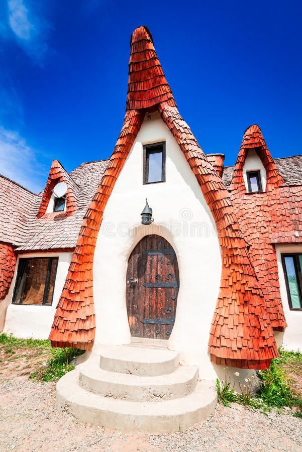 Clay Castle, Transylvania, Romania. The Valley of the Fairies Castelul de Lut, Valea Zanelor, Transylvanian Hobbit castle built of clay and sand in Romania royalty free stock photos