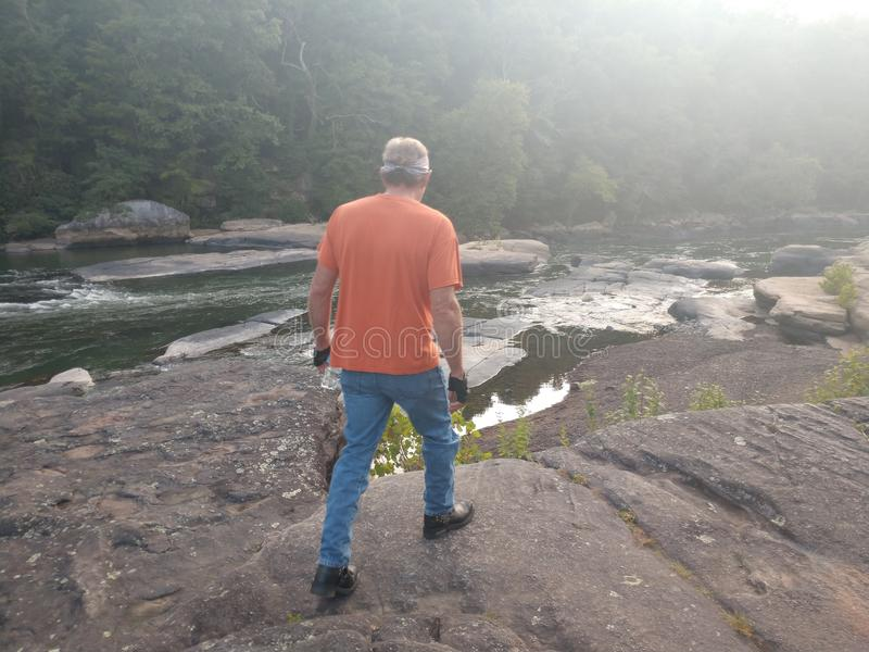 Valley Falls State Park. Beautiful scenery in Fairmont, WV at Valley Falls State Park. Many rocks to walk around the water. Tygart River is a local and tourist stock photo