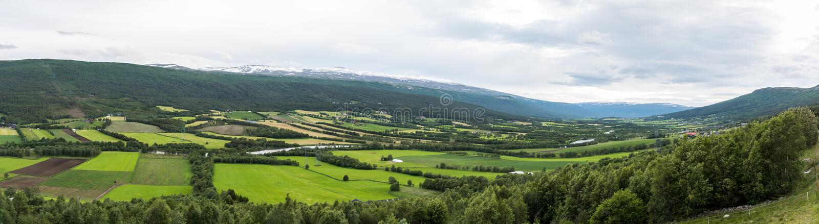 A valley of fields stock image