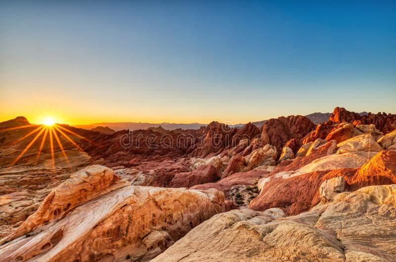 Valley of Fire State Park Landscape at Sunrise near Las Vegas, Nevada. USA royalty free stock photography