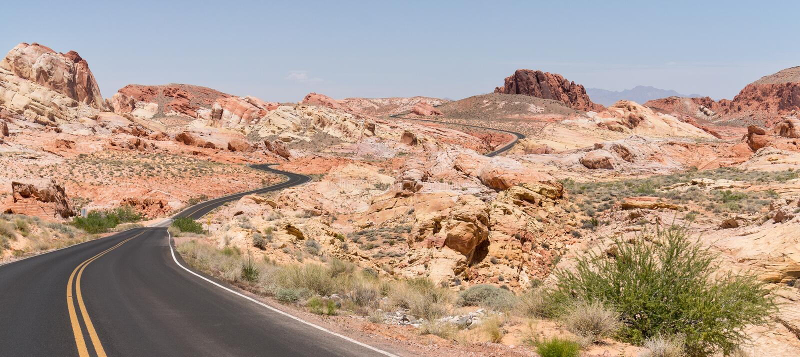 Valley of Fire State Park, Nevada. The road through the colorful landscape at Valley of Fire State Park, Nevada royalty free stock photo