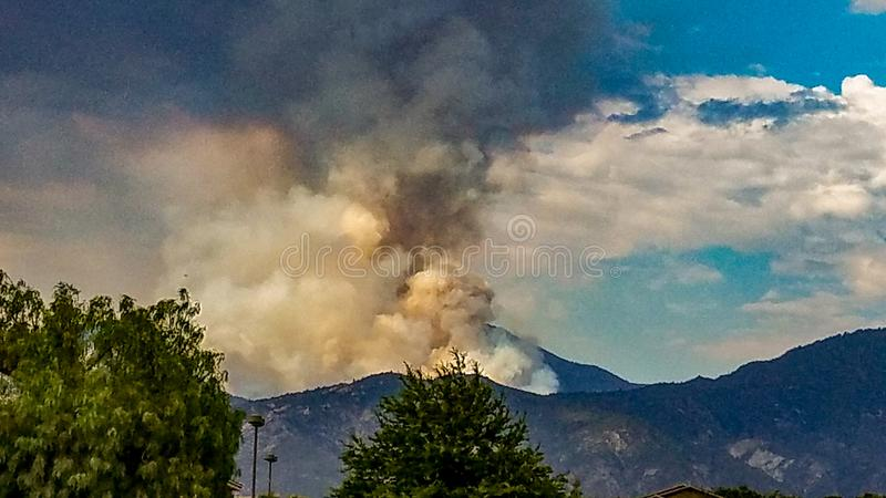 Valley Fire Viewed From Yucaipa California royalty free stock photos