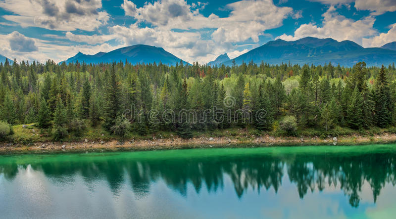Valley of the Five Lakes in Jasper National Park. Valley of the Five Lakes stock photos