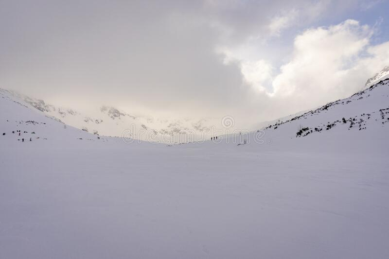 Valley of Five Polish Lakes in winter. Tatra mountains.  stock photo