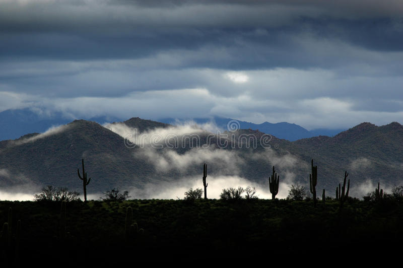 Valley of Fog, Clouds in the Desert royalty free stock images