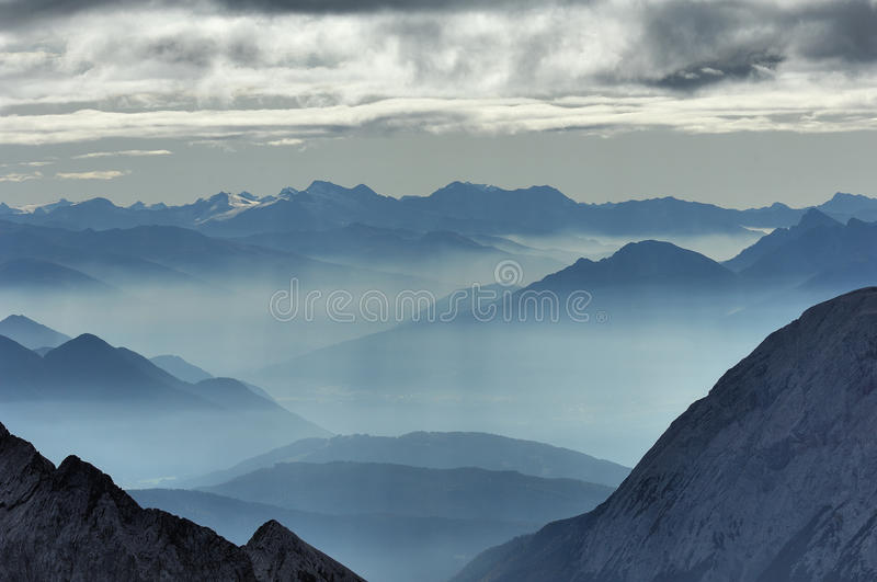 Valley fog from the Zugspitze 02 stock photos
