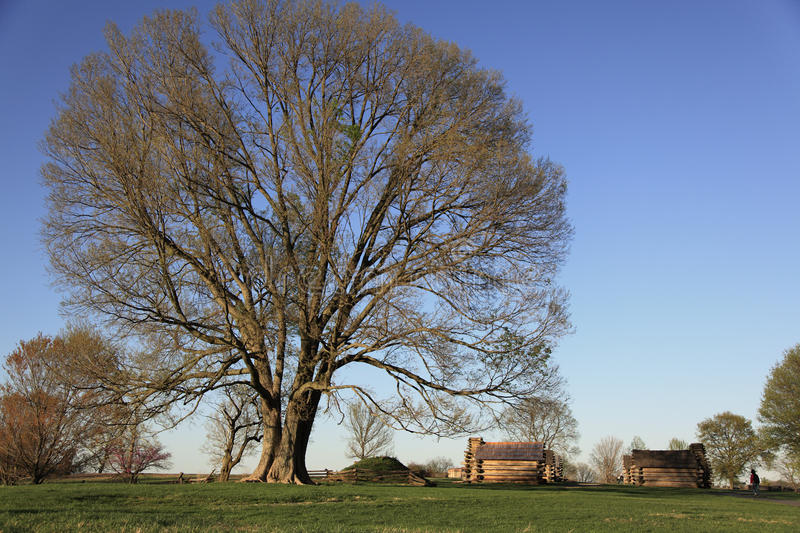 Valley Forge. Catching the sunset on Valley Forge national park. Historical cottages with nature landscape stock photo