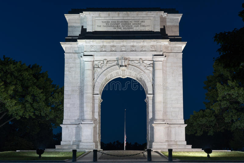 Valley Forge Arch at Night. The memorial Arch in Valley Forge National Park erected in 1910 royalty free stock photo