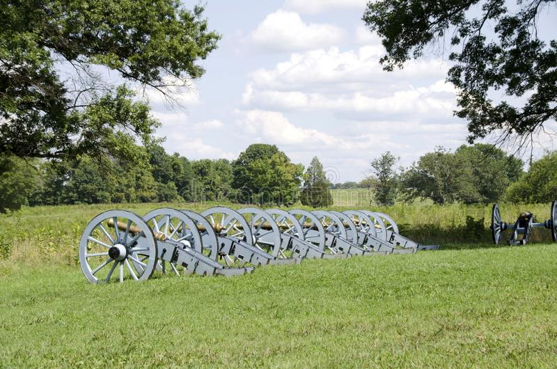 Valley Forge. Artillery battery of cannons in a quiet field at Valley Forge Pennsylvania where George Washington and the Continental Army encamped during the stock images