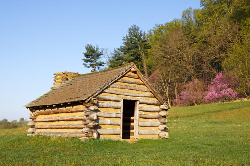 Valley Forge Cabin. A reproduction of cabins used by Revolutionary War soldiers during the winter of 1777-78 under the command of George Washington. Located in royalty free stock photo