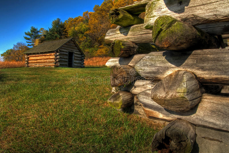Valley Forge Cabins. Soldier's cabins at Valley Forge National Park, Pennsylvania stock image