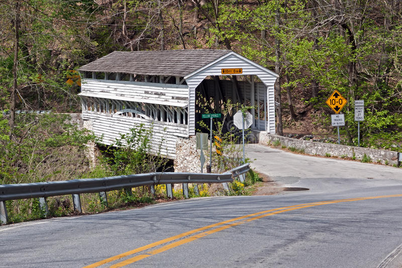 Valley Forge Covered Bridge. The Knox Covered Bridge in Valley Forge National Historical Park spans Valley Run in Chester County,Pennsylvania,USA stock photos
