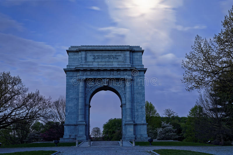 Valley Forge National Memorial Arch in Moonlight. Springtime predawn moonlight at Valley Forge National Historical Park in Pennsylvania, USA.The National royalty free stock photos