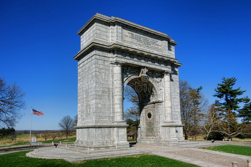 Valley Forge National Memorial Arch Stone Monument. National Memorial Arch dedicated to George Washington with the officers and private soldiers of the royalty free stock images
