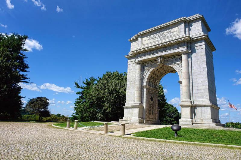 Valley Forge National Park Memorial Arch. National Memorial Arch monument dedicated to George Washington and the United States Continental Army in historic stock photo