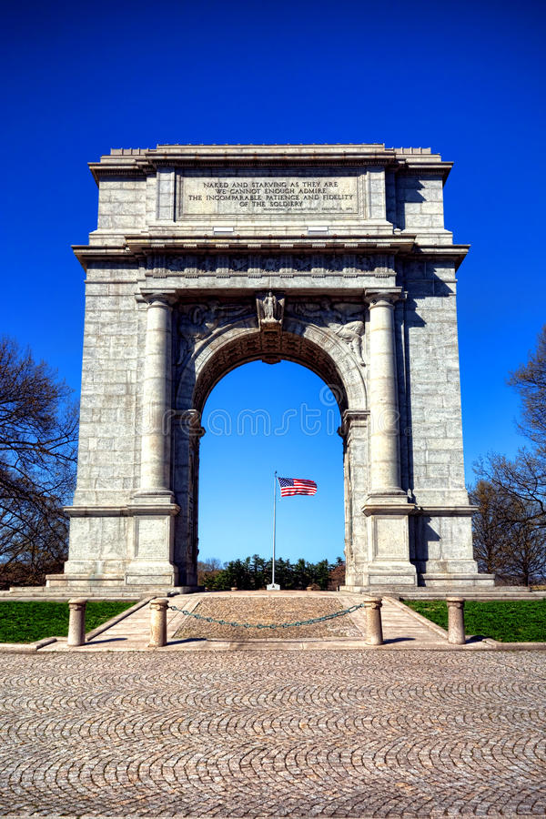 Valley Forge Park National Memorial Arch Monument. National Memorial Arch commemorative monument dedicated to George Washington and the officers and private royalty free stock images