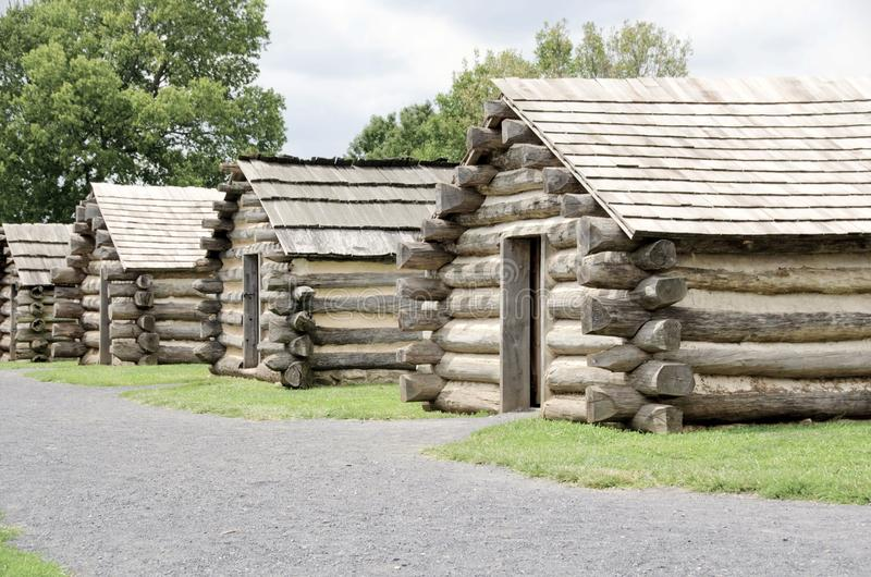 Valley Forge. Reconstructed cabins of the revolutionary army under General George Washington in the winter of 1777 1778 now Valley Forge National Historical Park stock photography