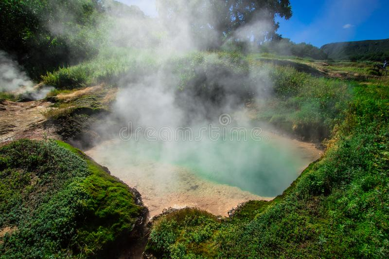 Valley of Geysers, Kamchatka, Russia. Close-up. Top view royalty free stock image