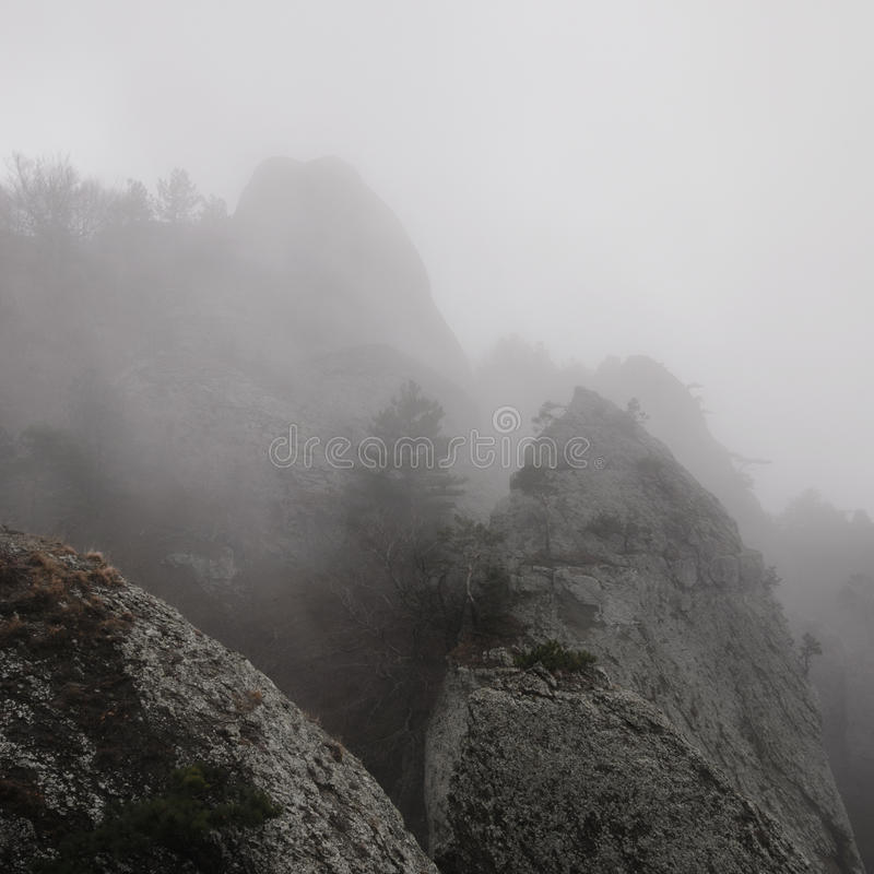 Valley of Ghosts. Foggy landscape in the Valley of Ghosts, Crimea stock photo
