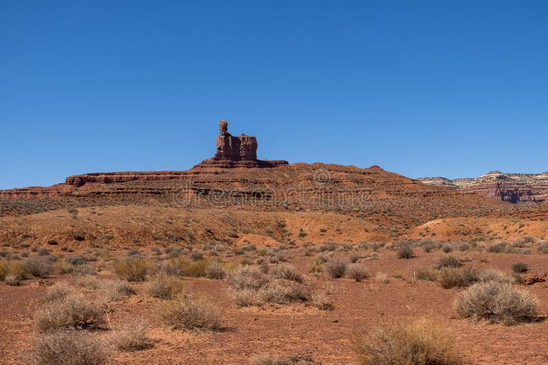 Valley of the Gods, Utah. Valley of the Gods near Monument Valley in Southeastern Utah, close to Mexican Hat. The Valley of the Gods in Navajo Nation land stock image