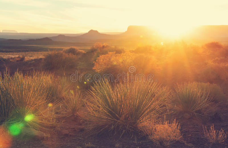 Valley of the Gods. Rock formation with Monument Valley at sunrise stock photo