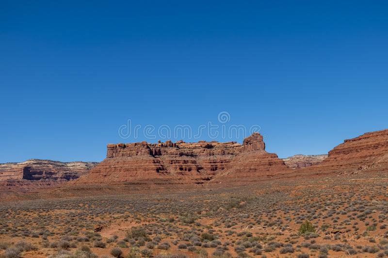 Valley of the Gods, Utah. Valley of the Gods near Monument Valley in Southeastern Utah, close to Mexican Hat. The Valley of the Gods in Navajo Nation land stock images