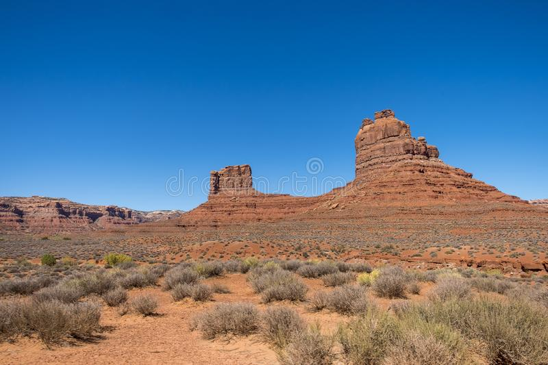 Valley of the Gods, Utah. Valley of the Gods near Monument Valley in Southeastern Utah, close to Mexican Hat. The Valley of the Gods in Navajo Nation land royalty free stock photography