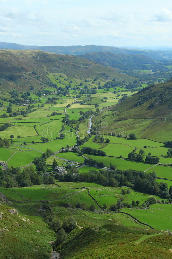 Valley of Great langdale. The valley of Great Langdale from the mountains in the Lake District royalty free stock photo