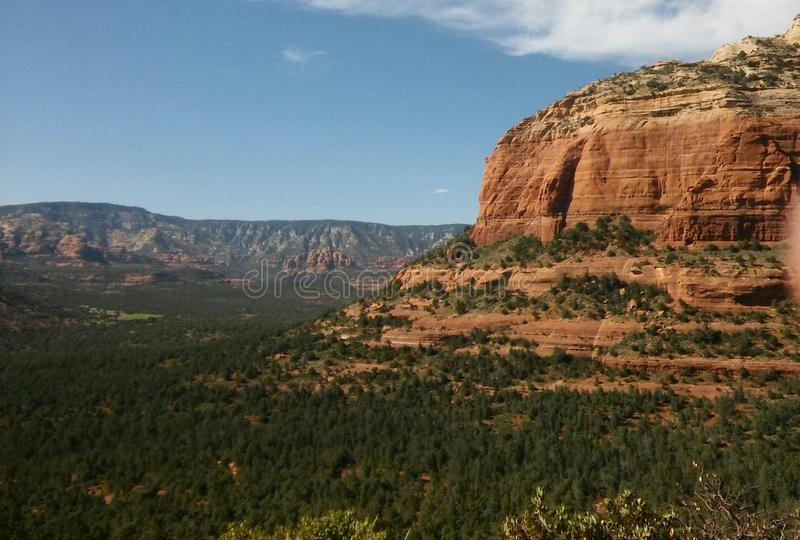 Higher Living in the North. A valley of green from the heights of the red rock. A view from Devils Bridge. A magical place in Sedona royalty free stock image