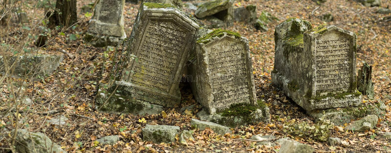 Valley of Josaphat in Crimea. Karaite cemetery. Tombstones. royalty free stock photo