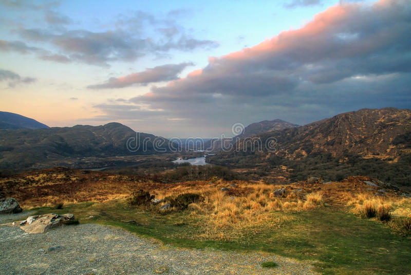 Valley in Killarney mountains at sunset royalty free stock photos