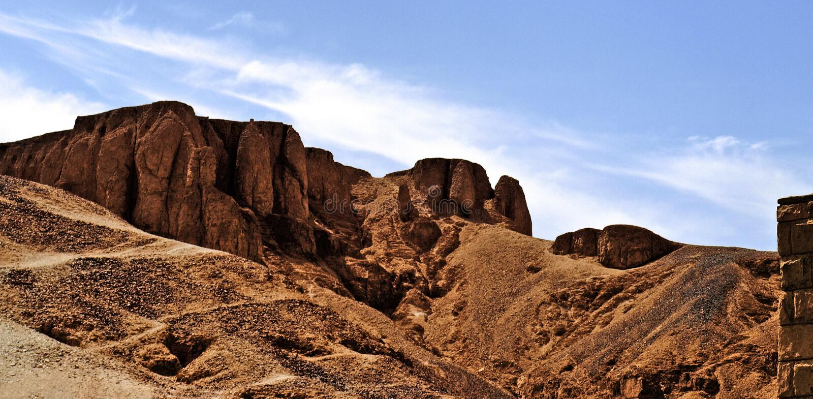 Valley of the kings. Rocks surrounding the entry of the valley of the kings in Egypt royalty free stock photos