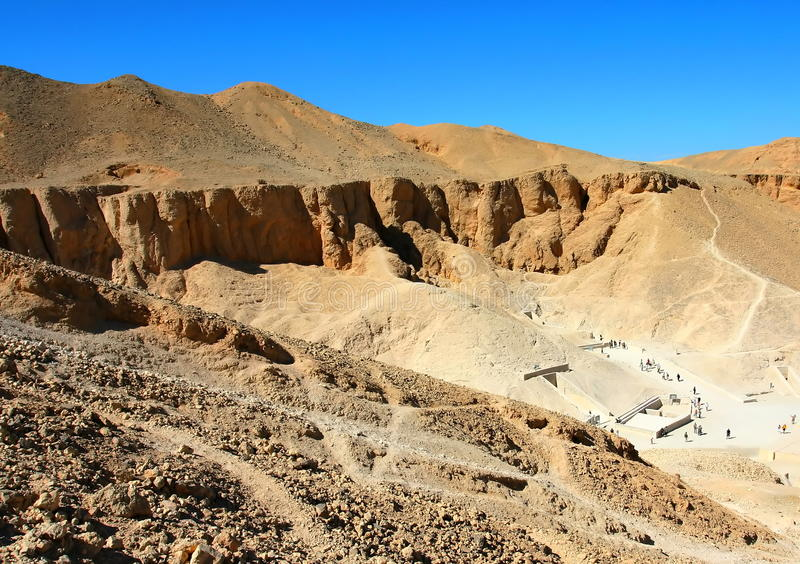 Valley of Kings. View over the Valley of Kings near Luxor, West Bank, Egypt stock images