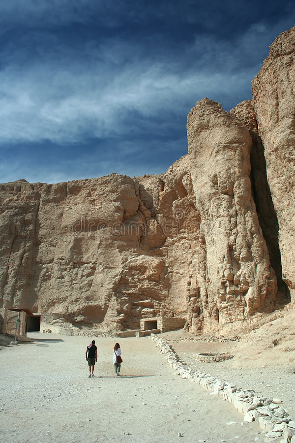 Valley of the Kings. Tourists in the Valley of the Kings, Luxor, Upper Egypt stock photos