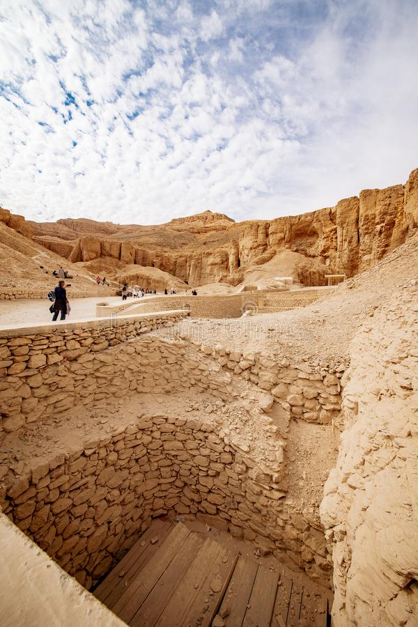 Valley of the Kings in Luxor Egypt tombs excavations. Luxor is one of Egypt best destinations for tourists and is situated on the Nile between Cairo and Aswan stock images
