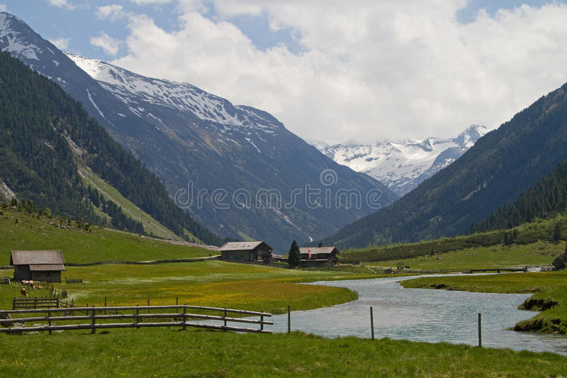 The valley of the Krimmler Ache. Nearby the Krimmler waterfalls royalty free stock photo