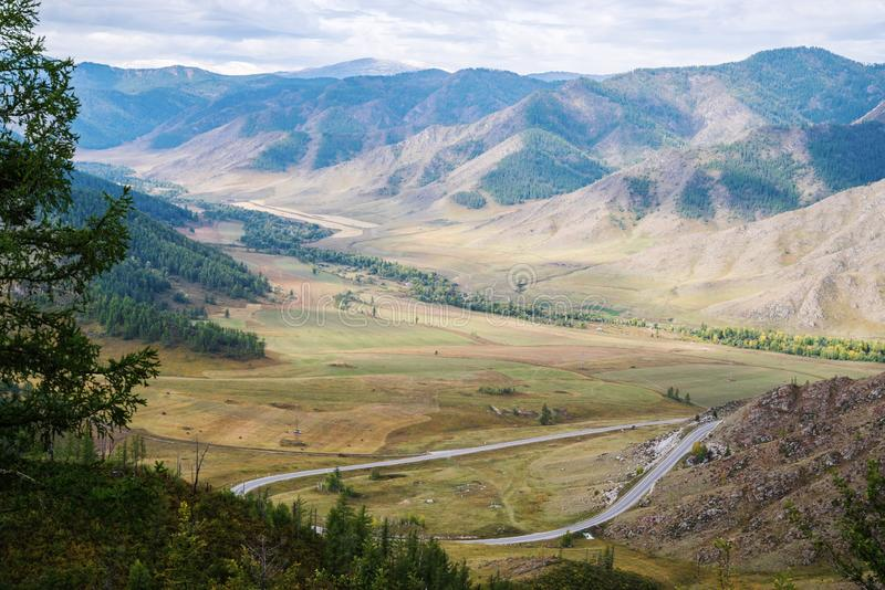 View from the Chike-Taman pass, mountain Altai stock photos