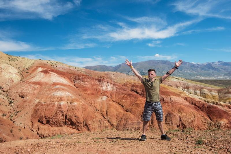 Valley of Mars landscapes. Man in Valley of Mars landscapes in the Altai Mountains royalty free stock photography