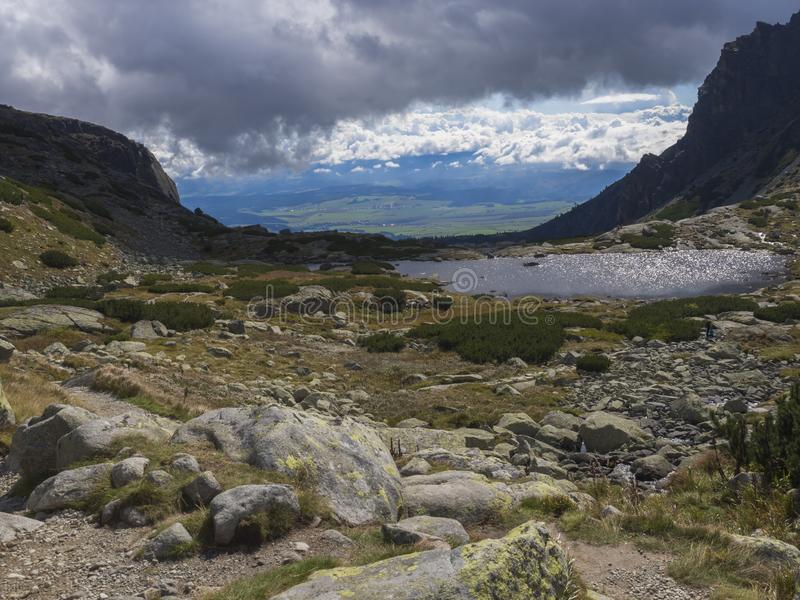 Valley Mlynska Dolina in slovakia mountains with view on Strbske pleso village and mountain lake Pleso Nad Skokom, High Tatra Moun stock image