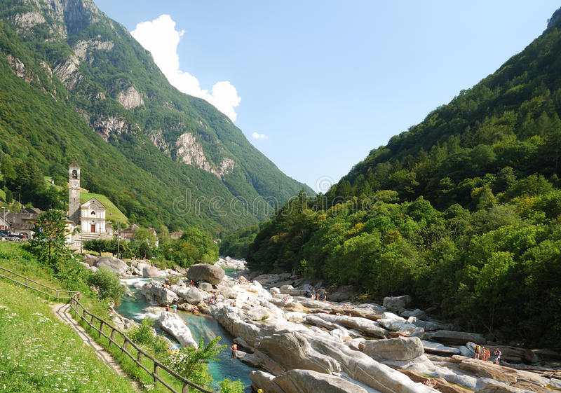 Valley of mountain river Verzaska in summer Swiss Alps. royalty free stock image