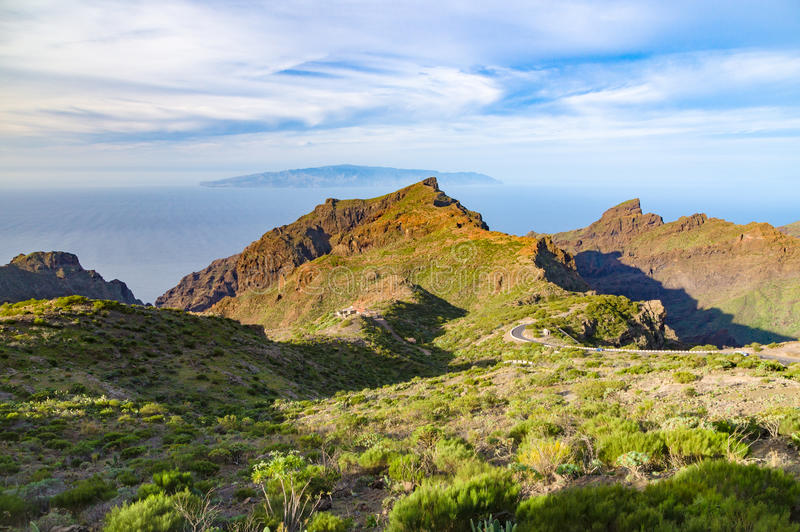 Valley and mountains of Masca, Tenerife. La Gomera island on background, Canary islands, Spain royalty free stock photos