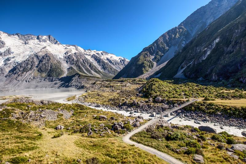 Famous popular landscape of Valley at Mount Cook, New Zealand royalty free stock image
