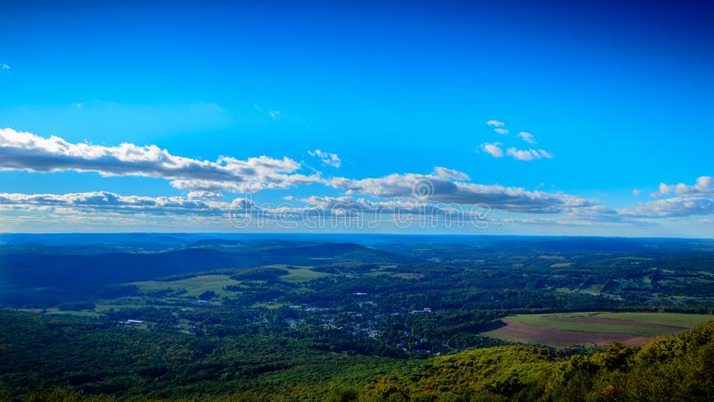 Valley overlook in Upstate New York. A valley overlook from on top of a mountain in Upstate New York royalty free stock photos