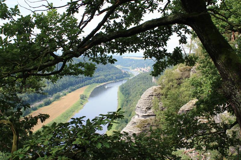 The river ELBe. The valley of the river Elbe with the crossing, view from heights, a beautiful coasts, small houses, beautiful horns village stock photography