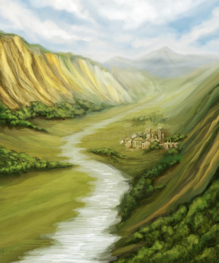 Valley with river landscape