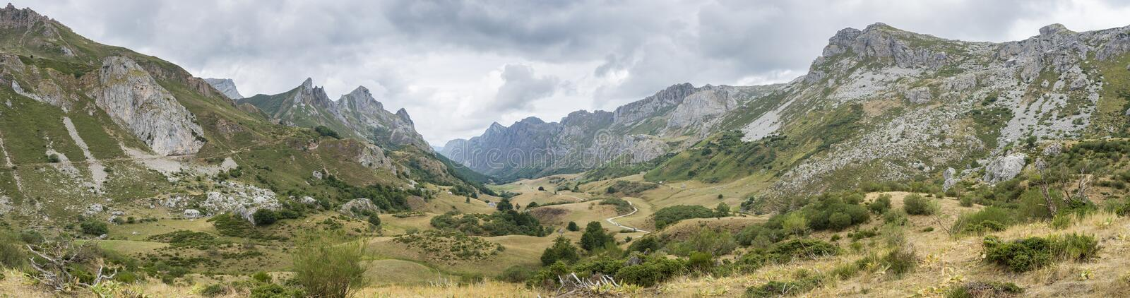 Valley of the River Rio del Valle. Panoramic view of Valley of the River Rio del Valle, in Somiedo Nature Reserve. It is located in the central area of the royalty free stock photo