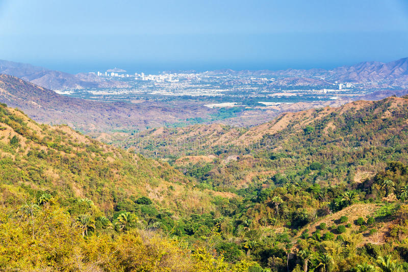 Valley and Santa Marta. Looking down a valley towards Santa Marta, Colombia stock images